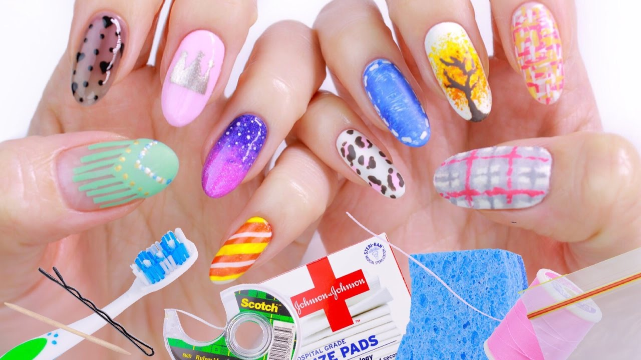10 Nail Art Designs Using HOUSEHOLD ITEMS! | The Ultimate Guide #2 ...