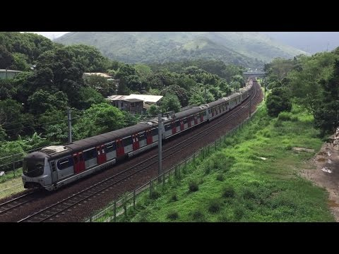 Mass Transit Railway HD: Metro Cammell MLR East Rail Line Train Accelerates out of Fanling Station