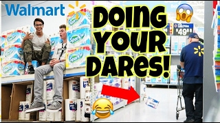 DOING YOUR DARES IN WALMART!! Toilet paper fort (Employees, Getting Caught, Pranks)