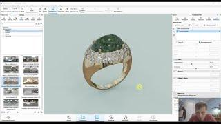 3д моделирование кольца с камнем для ювелира