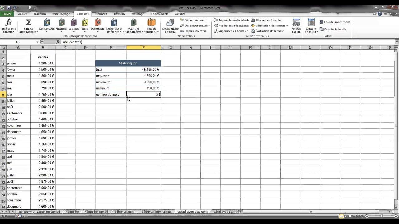9. Nommer des cellules et références absolues (Excel