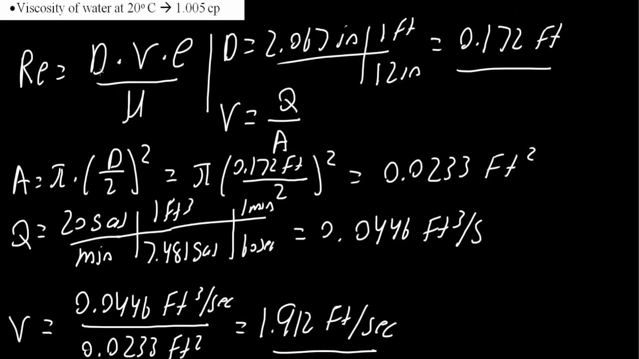 calculating reynolds number u0026 type of flow for 2u201d schedule 40 pipe