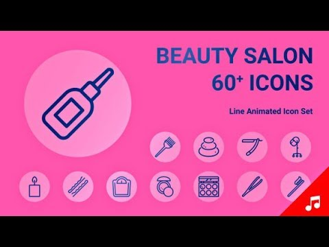 Beauty Salon Spa Equipment Makeup Animation - Line Icons | After Effects template
