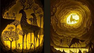 Paper cut light boxes, Indian artists