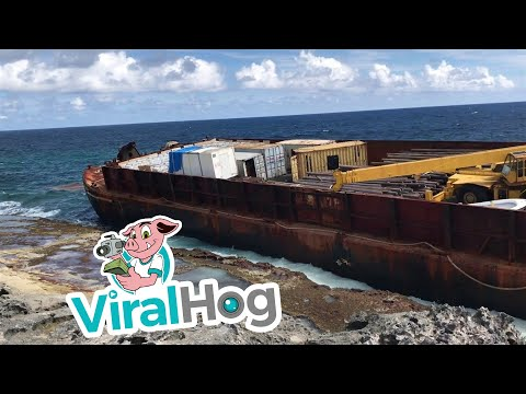 Barge Washed Ashore on Long Island Bahamas