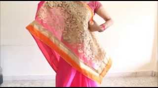 How To Wear Gujrati Style Saree : Seedha Pallu Sari Wearing Method :)