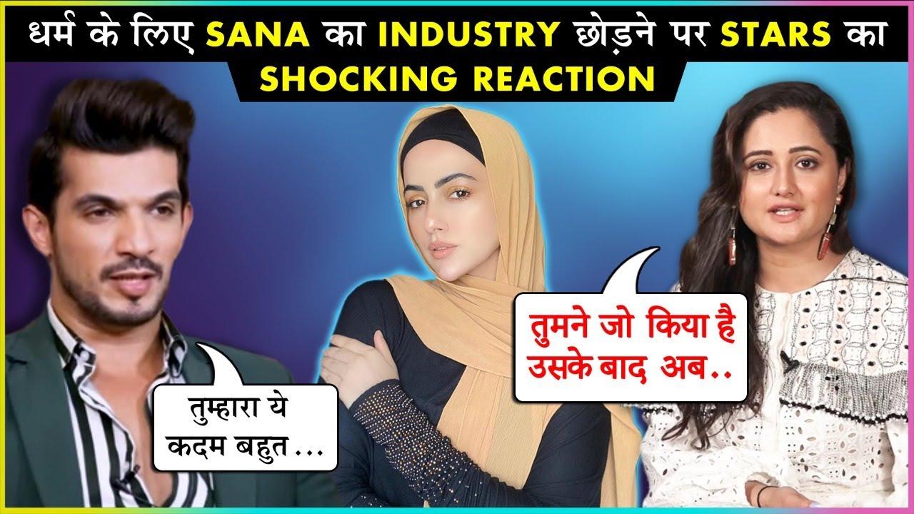 Download TV Stars Reaction On Sana Khan QUITTING Showbiz To Serve Humanity   Rashami, Arjun & More