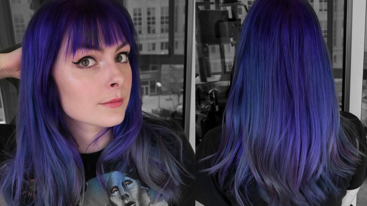 dyeing hair bright blue purple