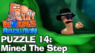 Worms Revolution: Puzzle 14 - Mined The Step (Puzzles Walkthrough)