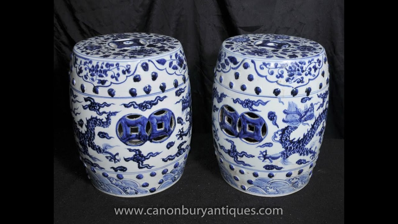 Charming Pair Chinese Ming Blue And White Porcelain Garden Seats