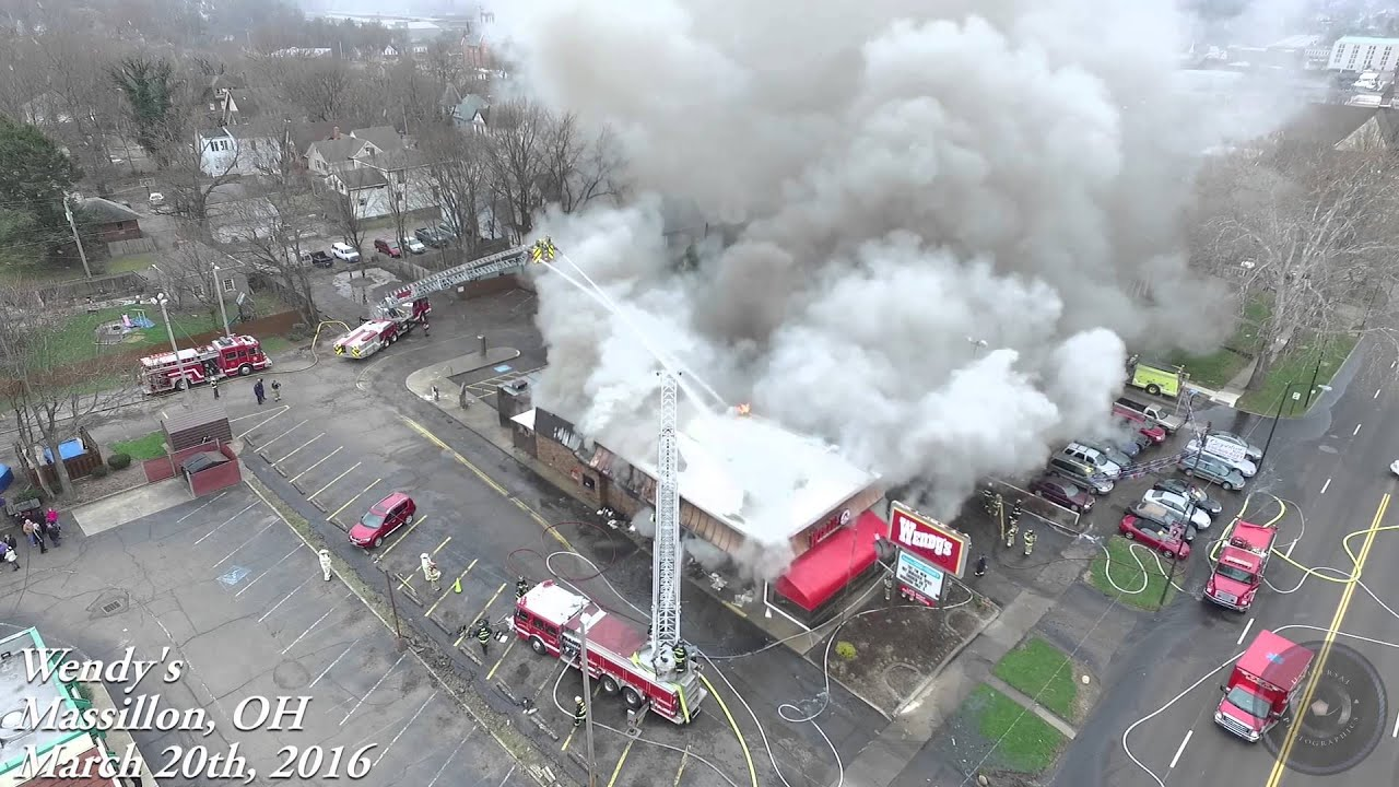 Wendy's Fire Massillon, Ohio - Aerial Footage by UniversalPhotographics