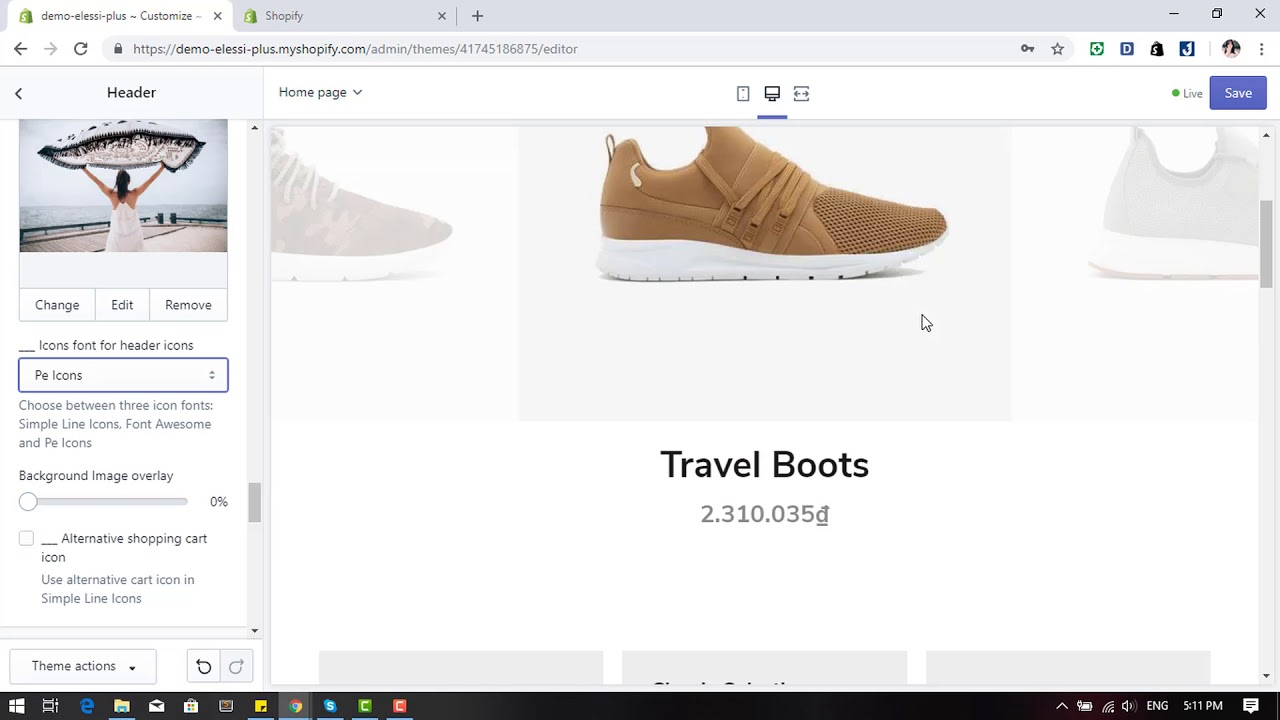 Elessi Premium Shopify Theme - Header Config