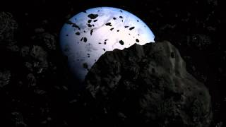 Blender Asteroid field heading towards planet in Widescreen HD with sound effects.