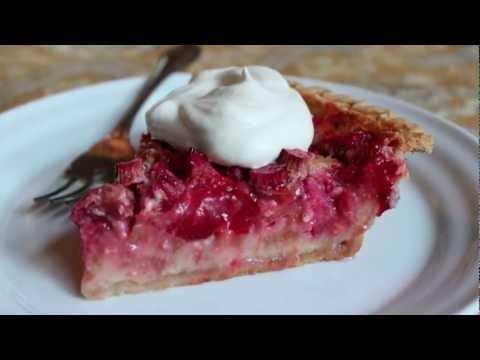 Strawberry rhubarb dessert with yellow cake mix