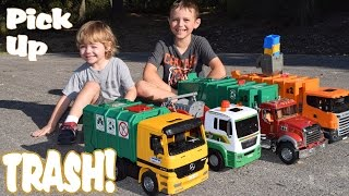 Garbage Truck Videos l 4 BIG TRASH TRUCKS Pick up, Dump and CRASH l Garbage Trucks Rule
