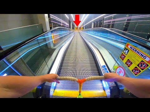 WORLD'S LONGEST ESCALATOR HILL BOMB ON SCOOTER!!