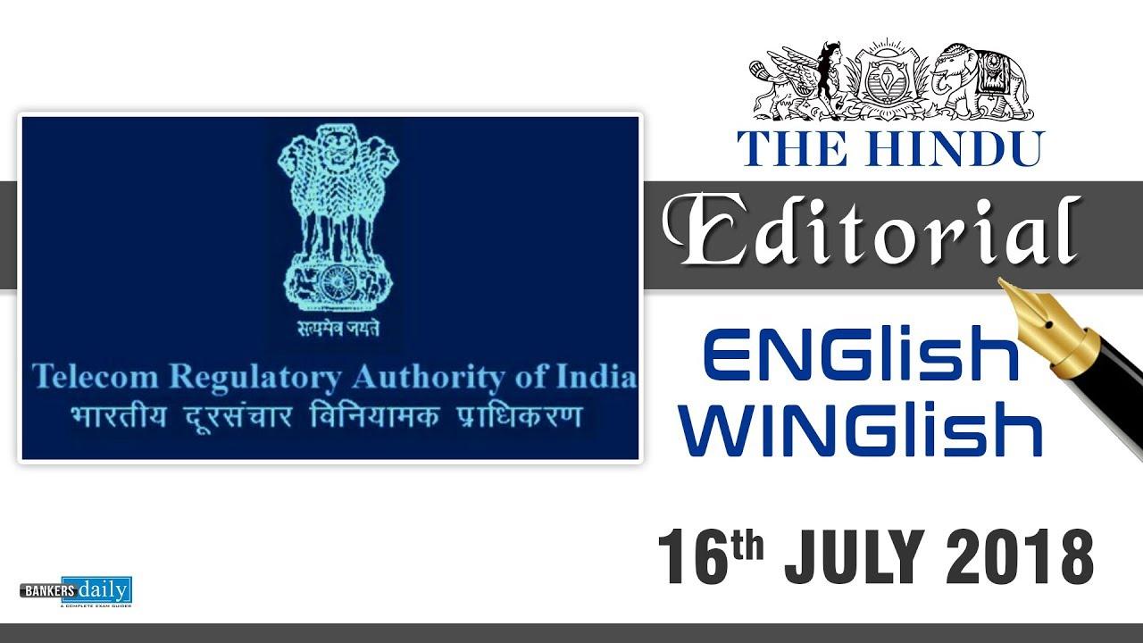 16 July, 2018 | ENGlish - WINGlish - THE HINDU EDITORIAL | English & Tamil