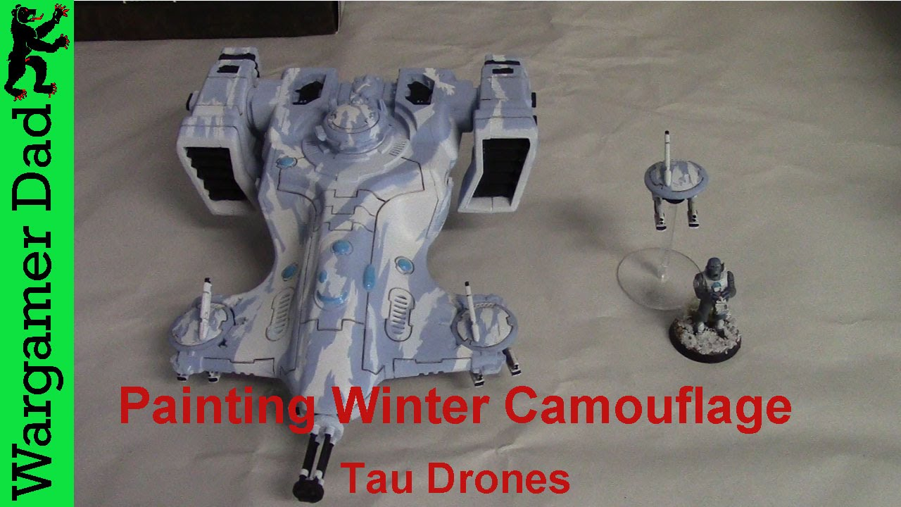 Painting a winter tiger stripe camouflage pattern Tau Drone - YouTube