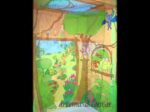 Murales infantiles la selva youtube for Murales infantiles para pared