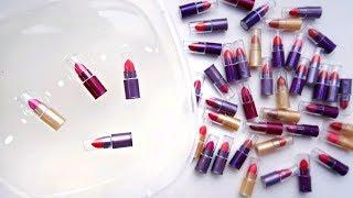 ЛИЗУН из 50 мини ПОМАД / СЛАЙМ из КОСМЕТИКИ / СМЕШАЛА 50 баночек ПОМАД MIXING Lipsticks into Slime