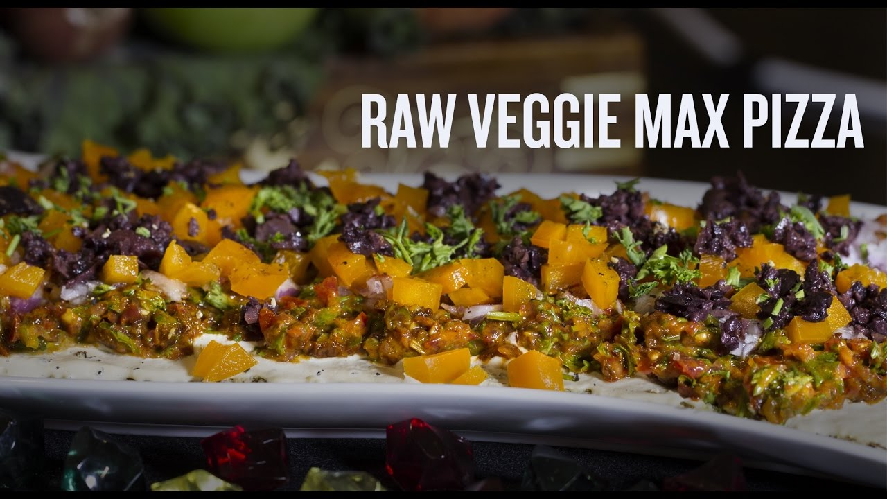 Raw Veggie Max Pizza with Cashew Cheese!