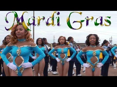 Dancing Dolls Parade Warm-up SU Human Jukebox Marching Band - 2018 Mardi Gras Parade