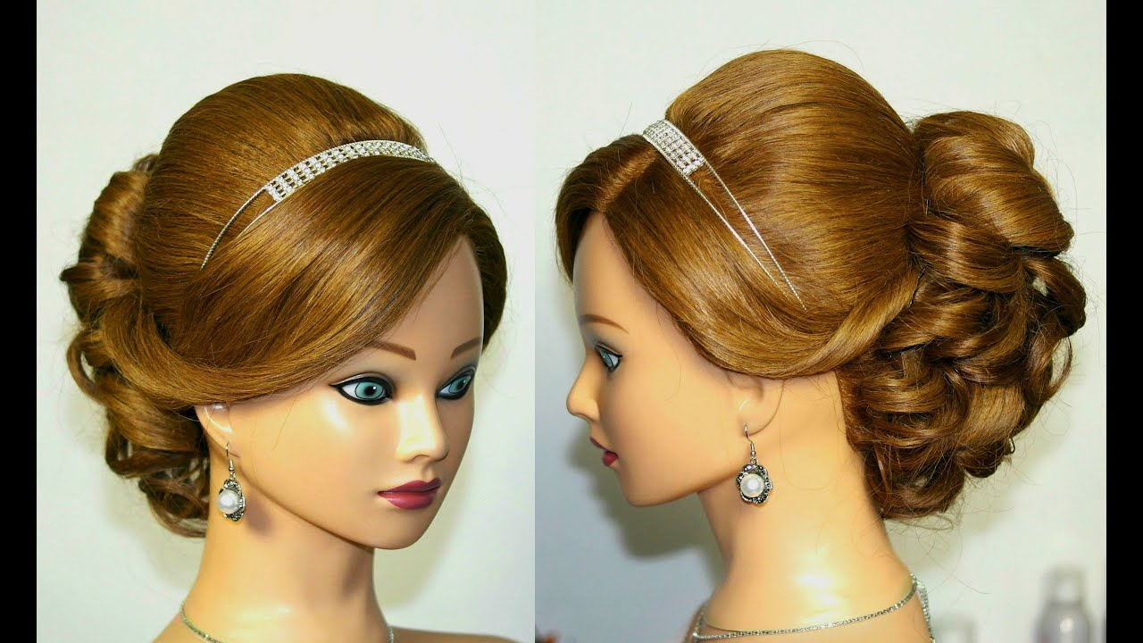Hair Style Youtupe : Wedding prom hairstyle for medium long hair. Updo tutorial - YouTube