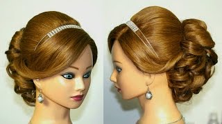 Wedding prom hairstyle for medium long hair. Updo tutorial