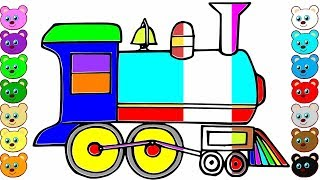 How to Draw a Train Engine Coloring Pages Videos for Kids | Drawing for Kids | Learn to Colors