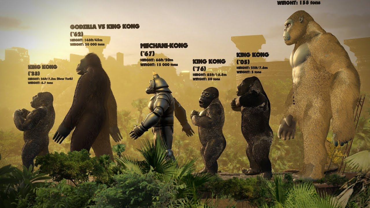 Evolution Of King Kong Size Comparison Youtube