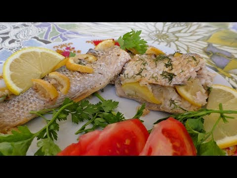 Рыба запечённая в духовке  Рецепт рыбы с лимоном  запечённой в рукаве в духовке