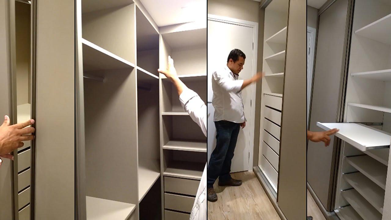 Quarto de Casal Planejado  Com Closet, Armário Embutido e Banheiro Planejado -> Armario De Banheiro Amadeirado