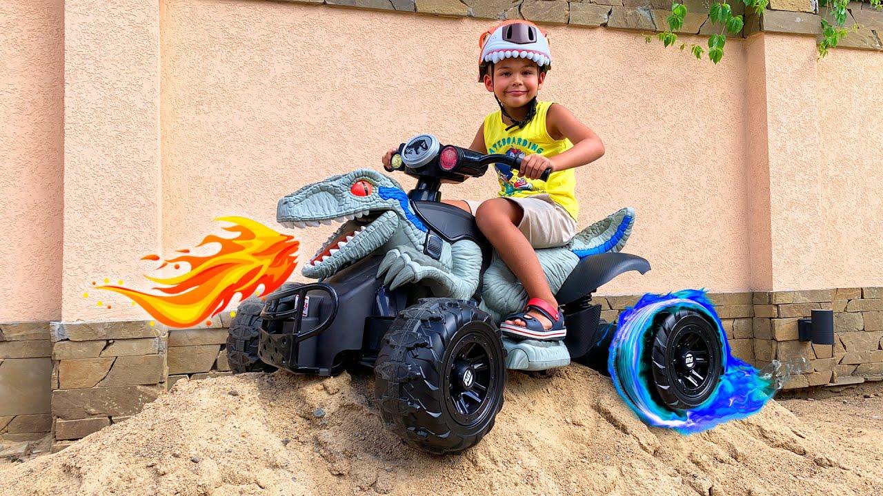 Funny Dima unboxing power wheels quad bike