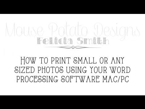 Print Small Photos Using Word Processing Software - Mac/PC