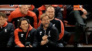 Jurgen Klopp's cheerful reaction after Lucas Leiva tries to score from 40 yards