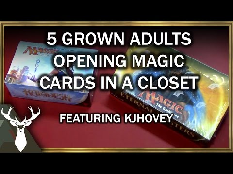 Five Adults Opening Magic Cards in a Closet (ft. Kjhovey)