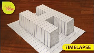 How To Draw 3d latter H - 3D Illusion - Very Easy 3D Trick Art paper - Art Konna --