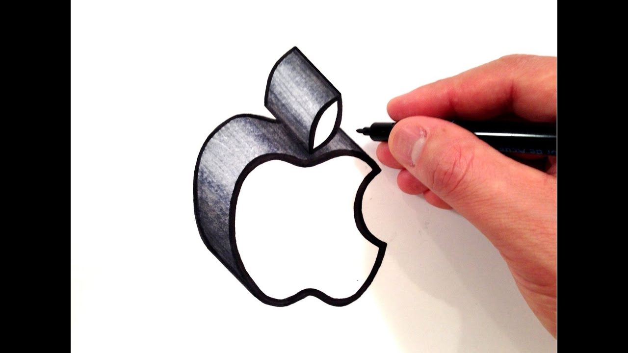 how to draw the apple logo in 3d youtube