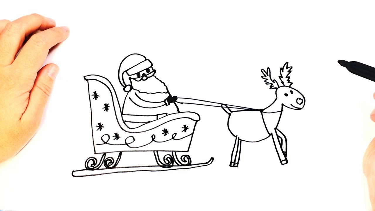 how to draw santa claus sleigh easy draw tutorial youtube