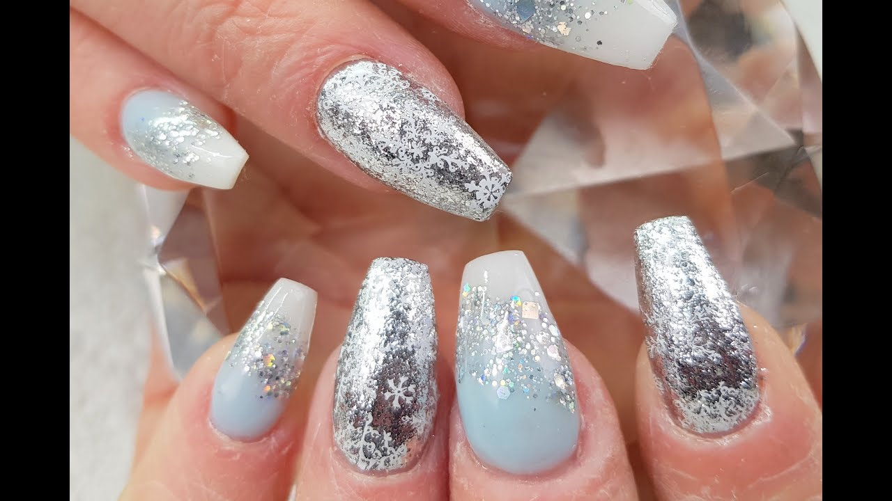 Acrylic Nails Frozen Inspired Christmas Nail Design Part 6 - YouTube