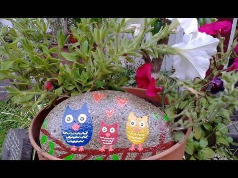 Decorar piedras con acr licos para el jard n youtube for Como decorar un jardin con plantas