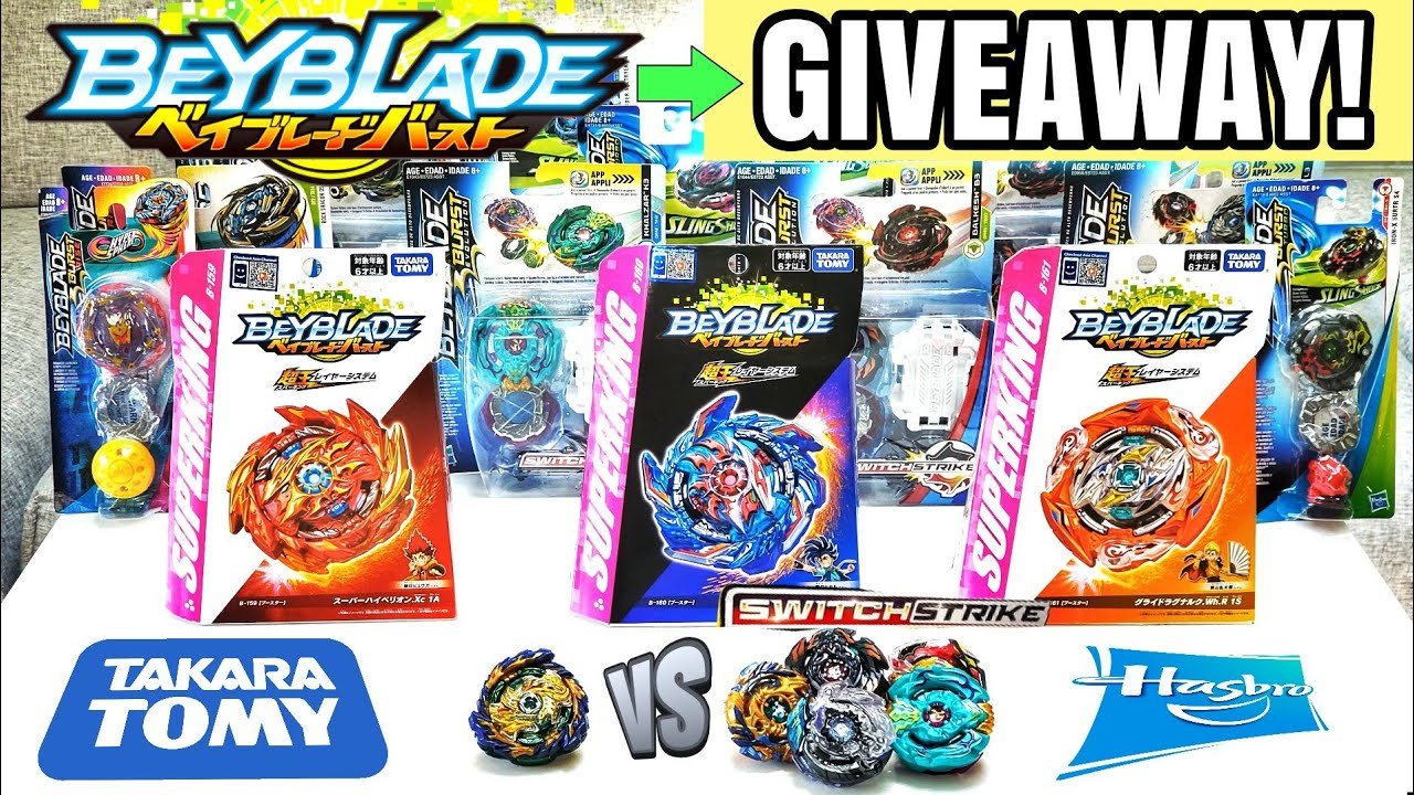 Beyblade Burst SUPERKING / SPARKING Mirage Fafnir vs Hasbro SwitchStrike Beys + Beyblade Giveaway