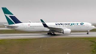 WestJet Boeing 767-300ER(WL) Smoky Arrival at Calgary Airport