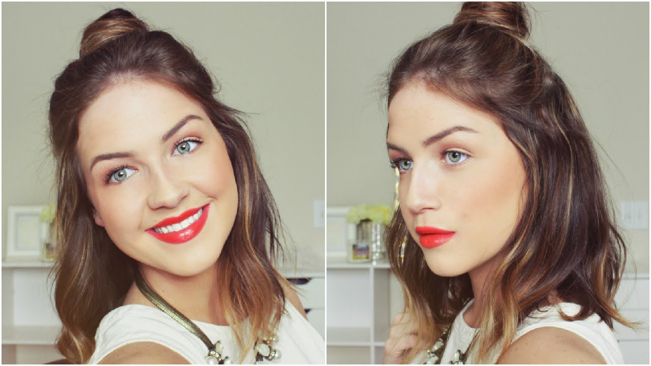 Top 1 Hairstyle: Half-Up Half-Down Top Knot Hair Tutorial