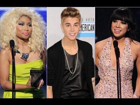 Justin Bieber and Nicki Minaj 2012 American Music Award Winners!
