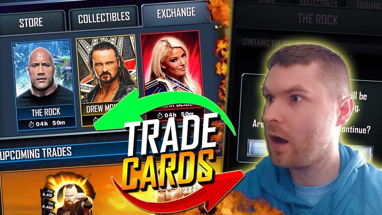 EXCHANGE CARDS FOR OTHER CARDS! TRADING CARDS IN WWE SUPERCARD!? *Concept*