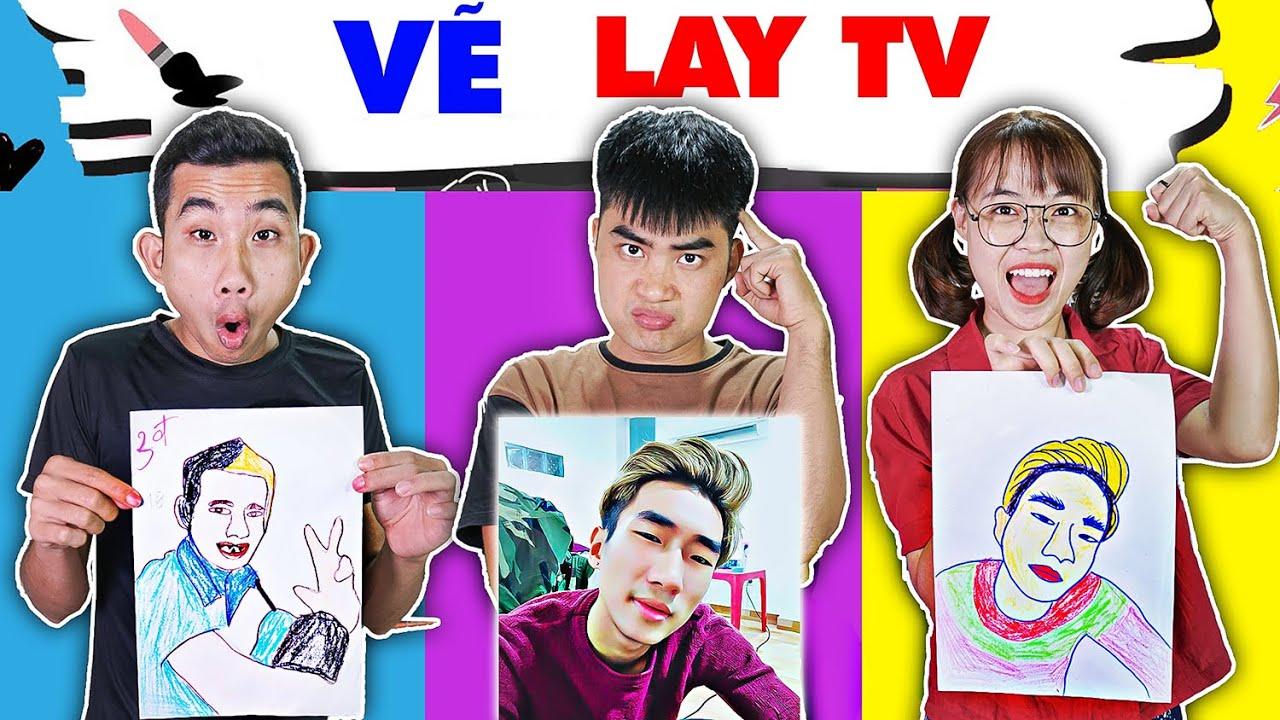 Gấu Đỏ TV - Thử Thách Vẽ LAY TV , LÂM VLOG, DI DI - Ai Là Người Vẽ Đẹp Nhất