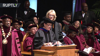 US Secretary of Education booed by students at graduation ceremony in Florida