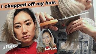 CUTTING OFF MY HAIR INTO A BLUNT SHORT BOB|DIY ONE-LENGTH BOB|PlaythislifeAzusa