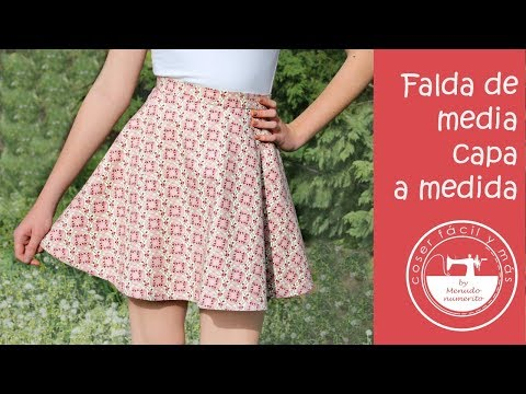 ea2a2993d Falda de media capa o semicircular a medida, fácil - YouTube